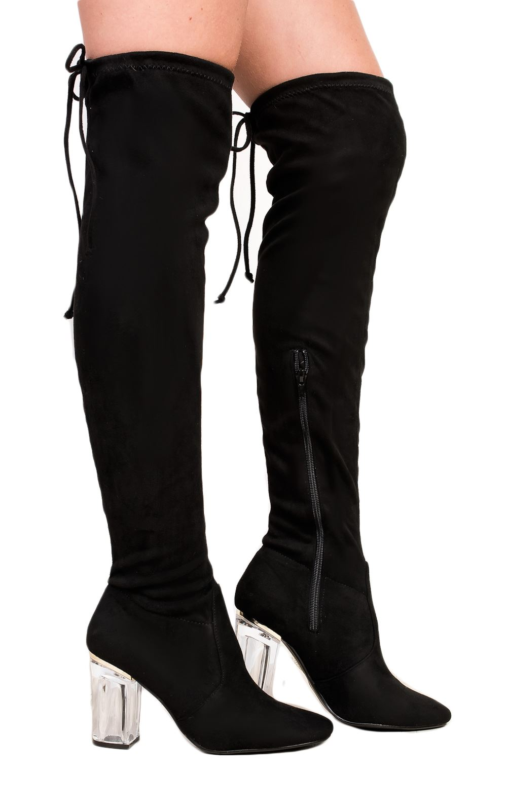 Womens Thigh High Boots Over the Knee Party Stretch Block Mid Size ...
