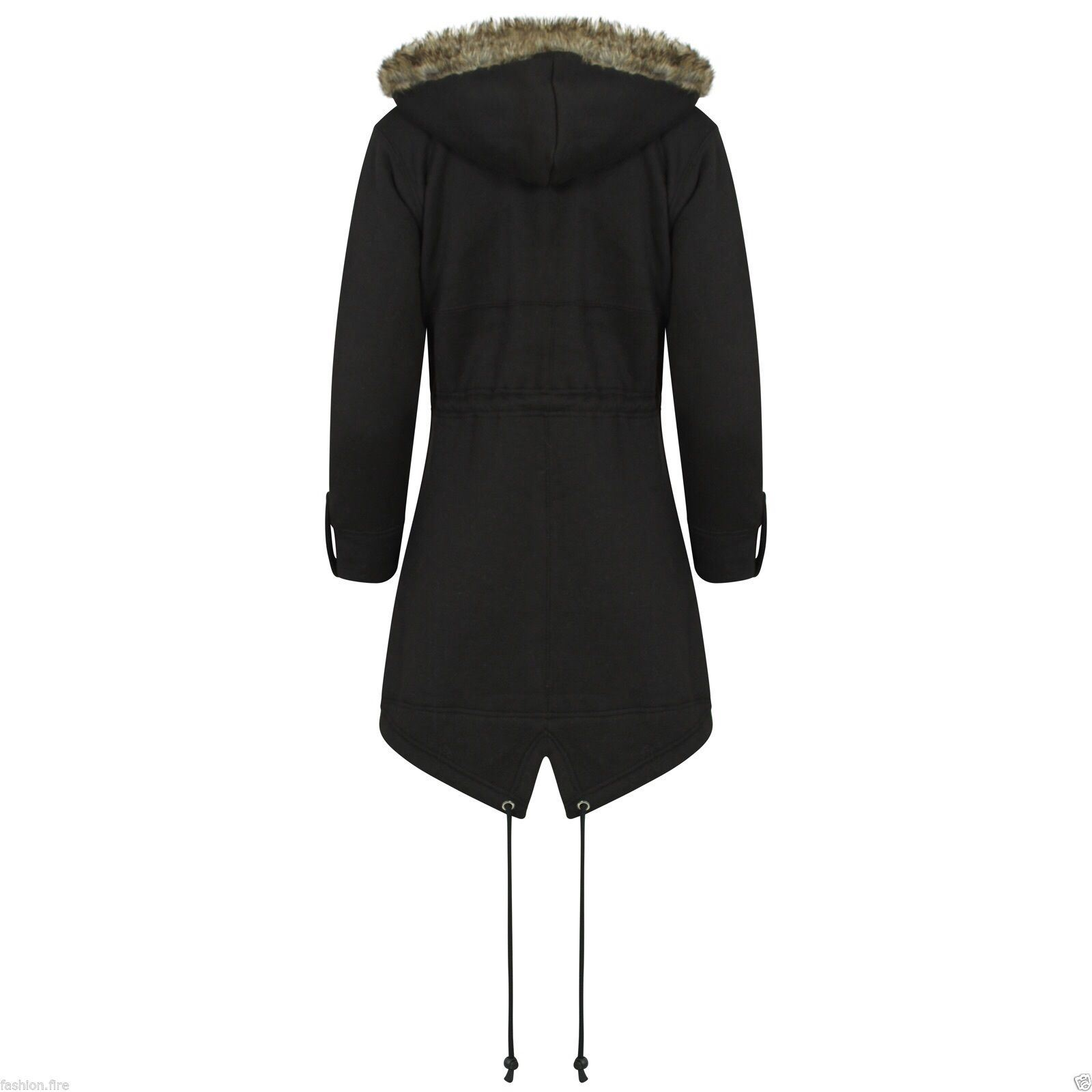 New Womens Kids Trench Faux Fur Hooded Parka Fishtail Jacket Plus ...