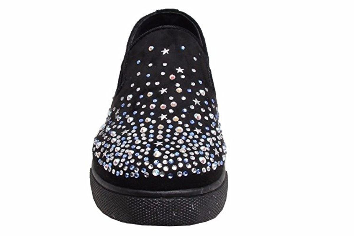 New Quality Womens Casual Front Slip On Diamante Faux Suede Sneaker Pumps Shoes