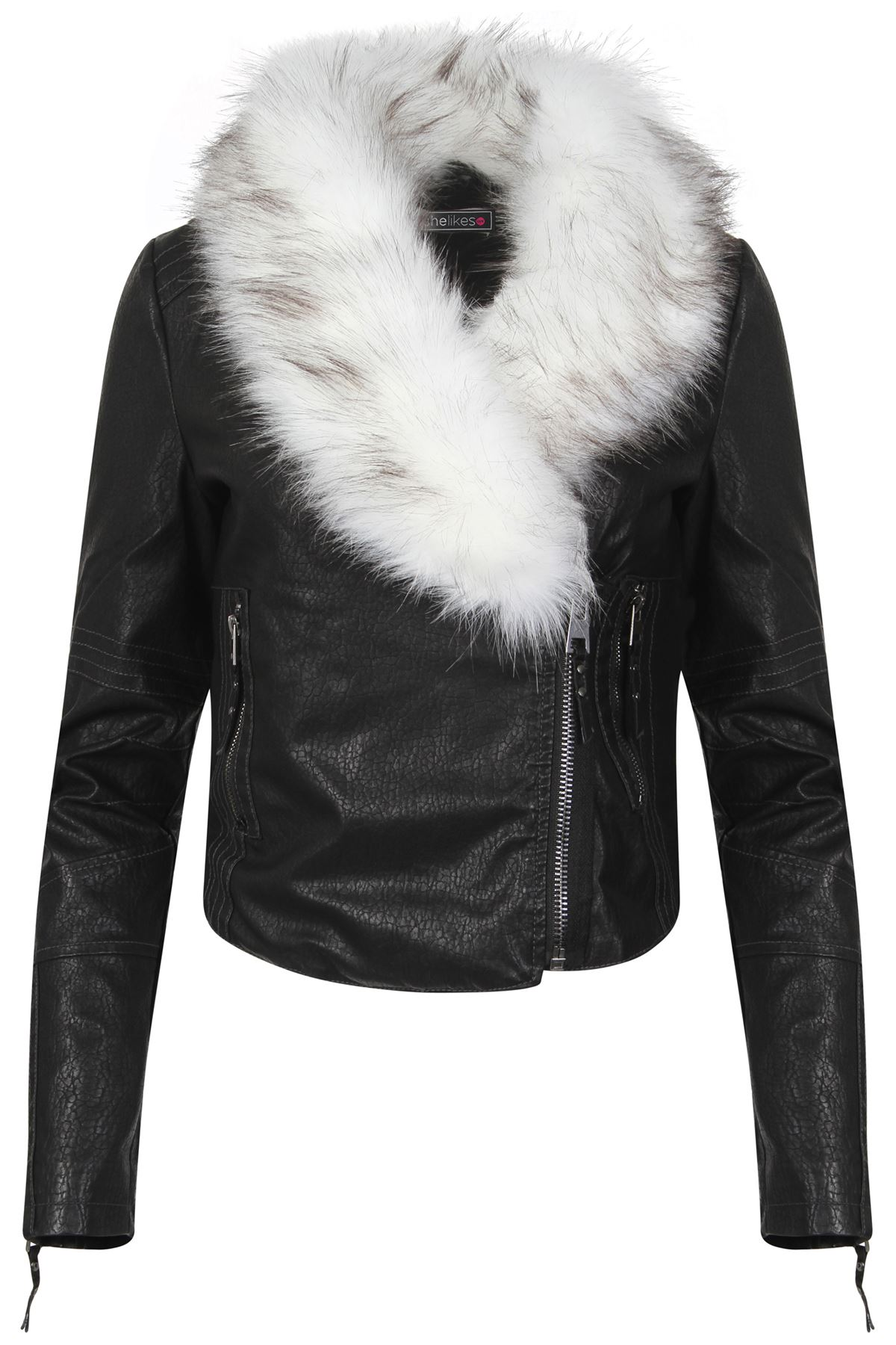 Womens Leather Collar Trim Winter PU Distressed Jacket ...