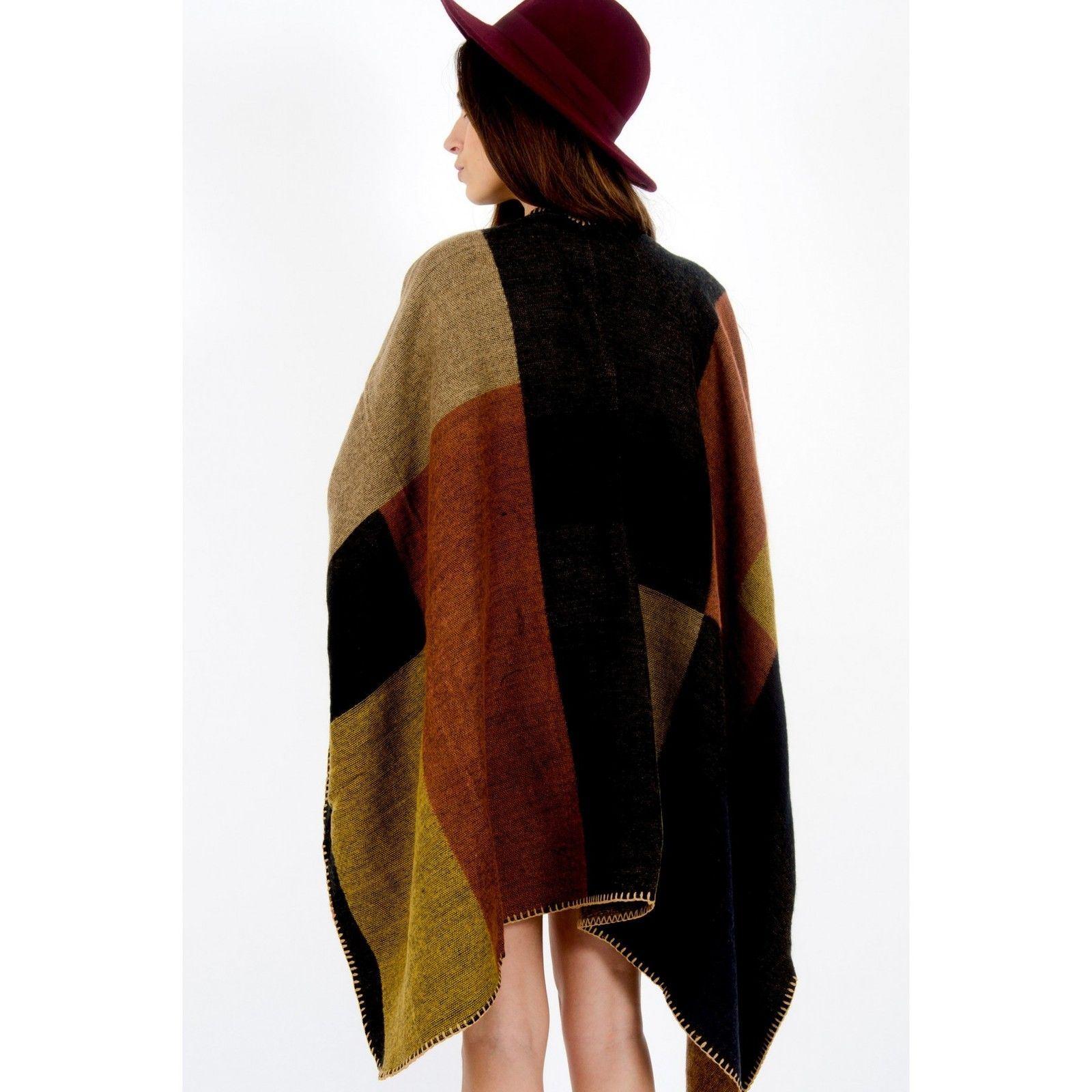 Ladies Womens Colour Block Check Blanket Cape Coat Winter Wrap Shawl 8 10 12 14