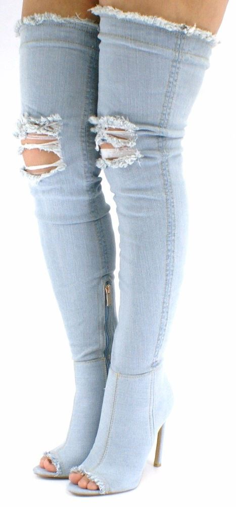 New Womens Denim Thigh Toe High Stiletto Heel Over-the-Knee Peep Toe Thigh Shoes bfccae