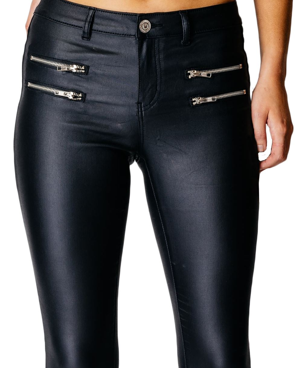 Womens Ladies Black Jeans Plus Pockets Detail High Waisted Zips