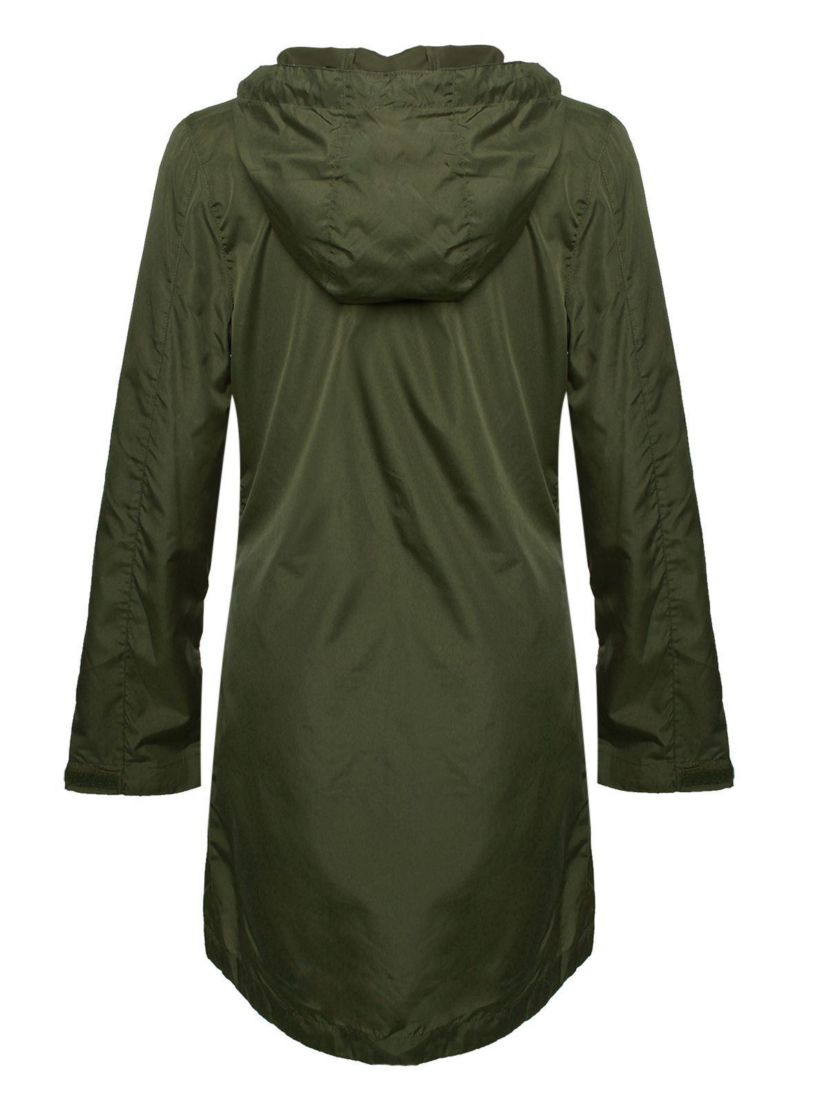 Para-Mujer-Damas-Alma-valiente-showerproof-Plain-parka-con-capucha-lluvia-con-cremallera-chaqueta miniatura 4
