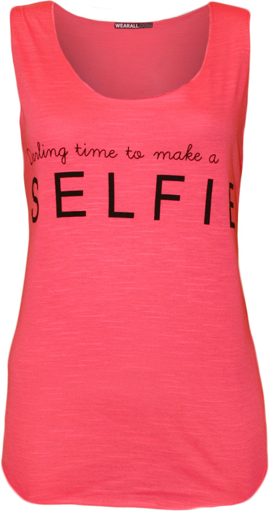 Womens Darling Time To Make A Selfie Text Print Ladies Sleeveless Vest Top 8-14