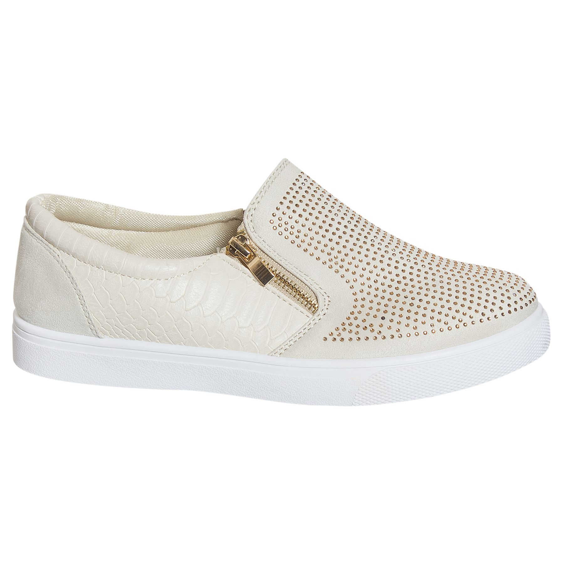 Buy low price, high quality gold slip on sneakers with worldwide shipping on palmmetrf1.ga