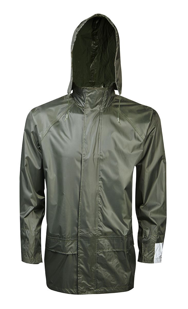 Mens plain raincoat waterproof zip hooded fishing outdoor for Waterproof fishing jacket