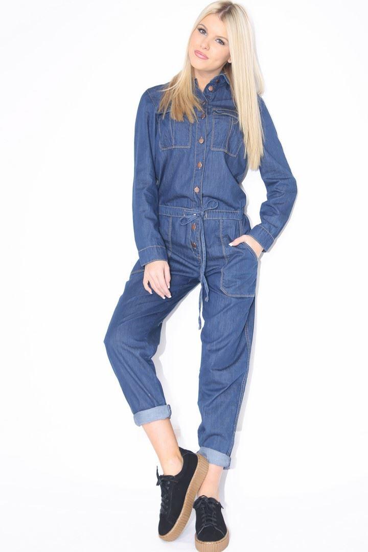 02907cdb78 New Womens Denim Boiler Suit Ladies Jumpsuit Blue Size 6-14 ...