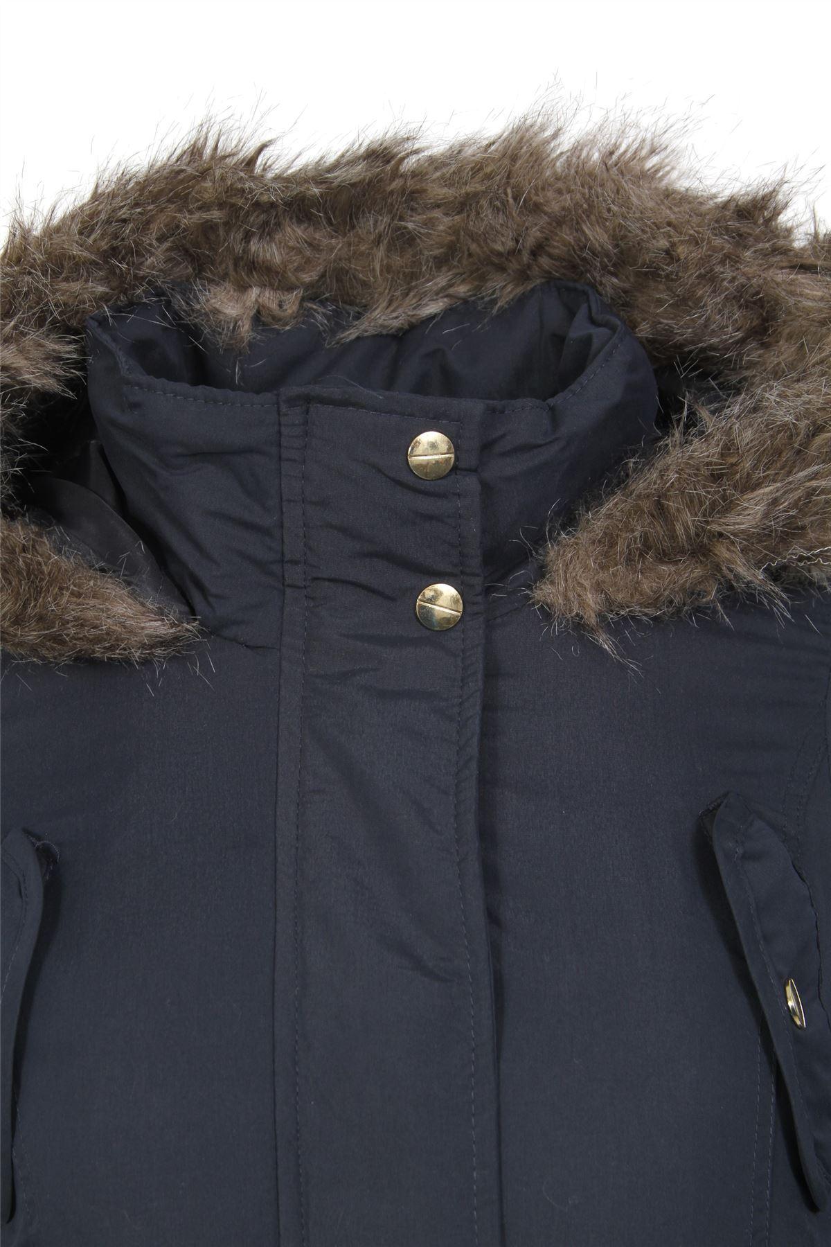 Womens-Brave-Soul-Plain-Trimmed-Parka-Faux-Fur-Hooded-Winter-Jacket-Long-Coat thumbnail 7