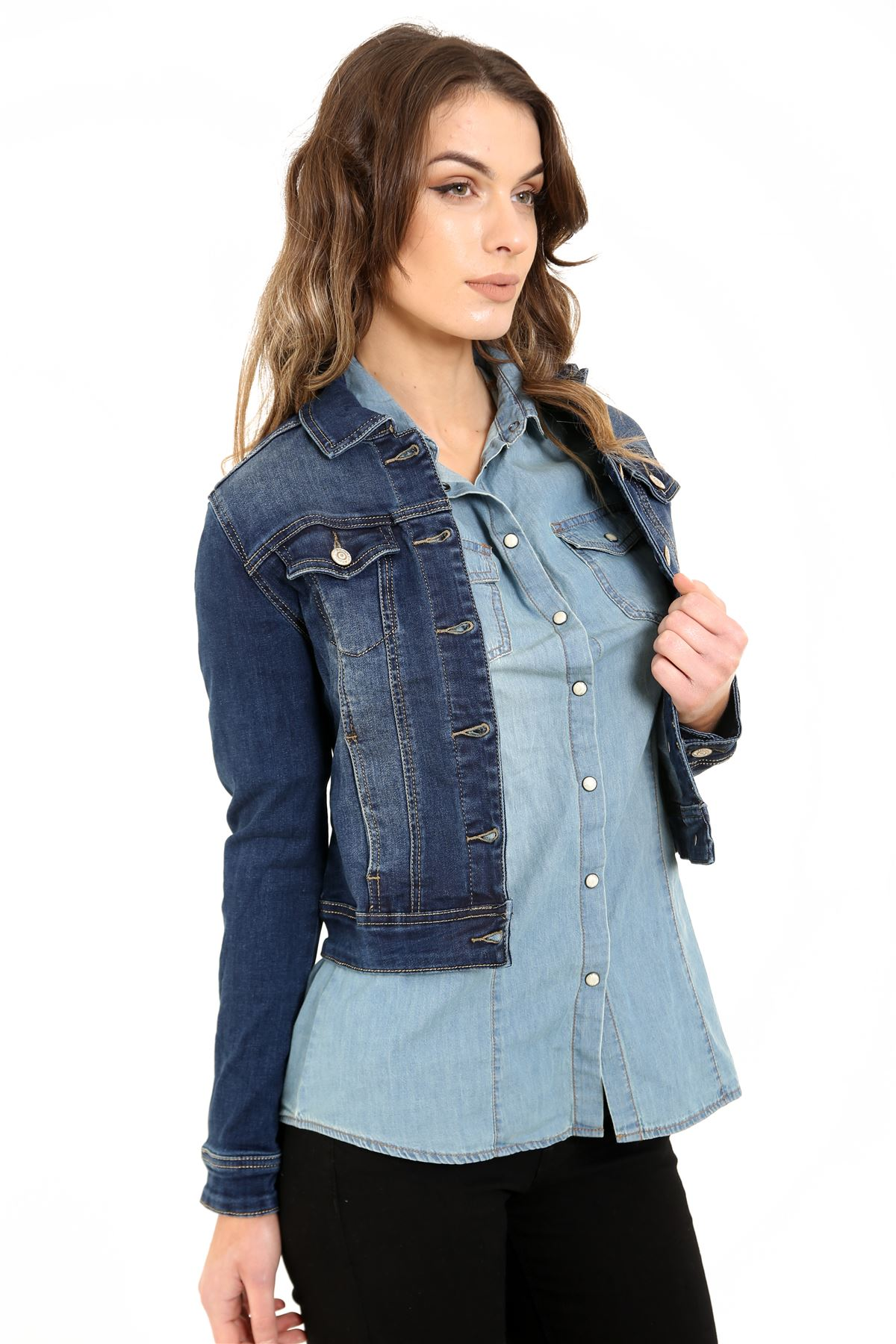 aa6d9d73be New Womens Cropped Mid Wash Blue Stretch Denim Long Sleeve ...