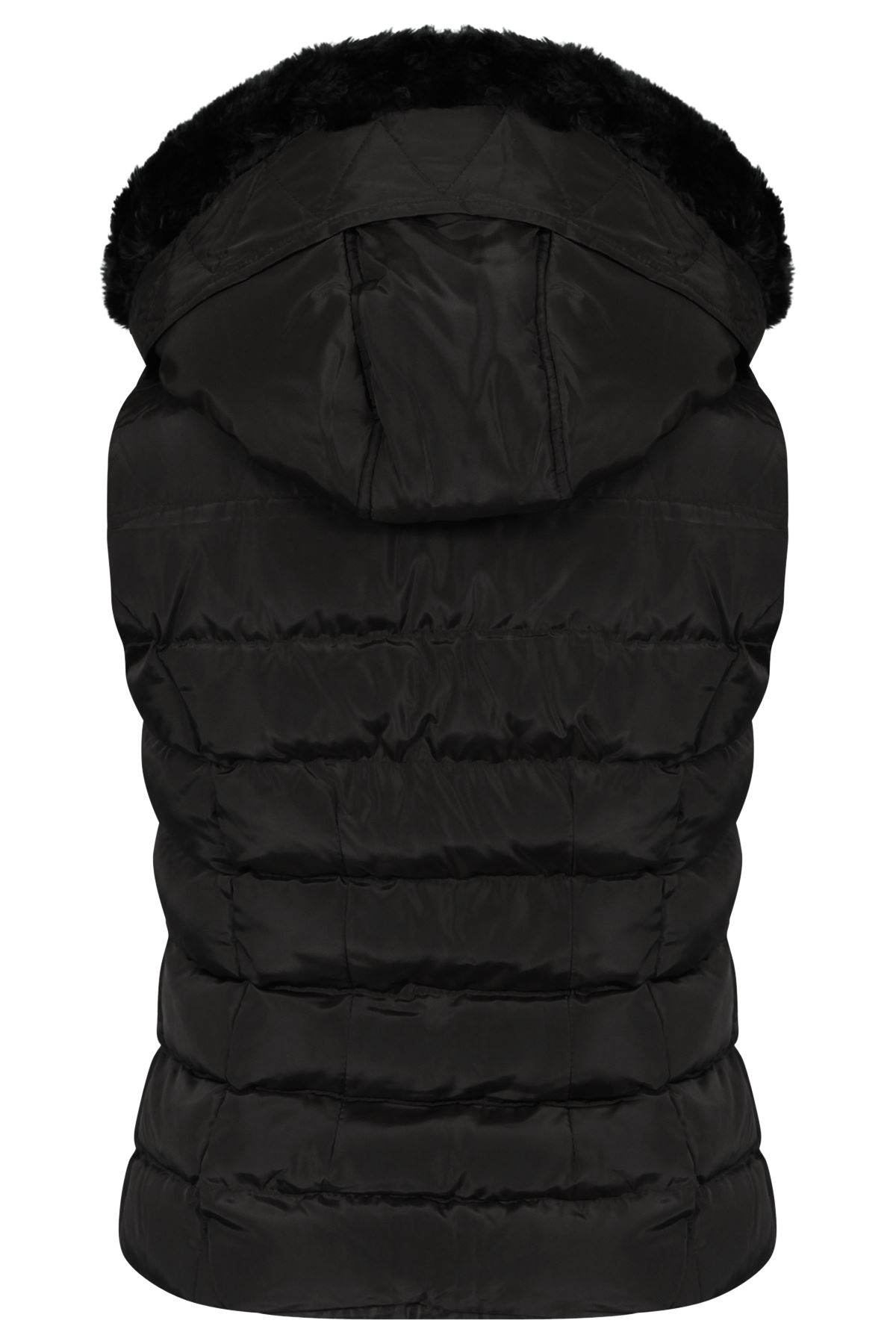 Womens Quilted Winter Faux Hooded Gilet Vest Fur Jacket ...