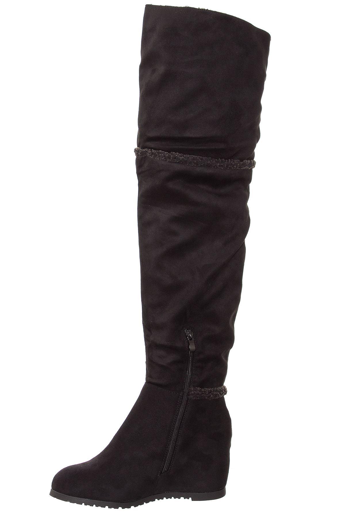 womens the knee fleece lined faux suede faux fur trim