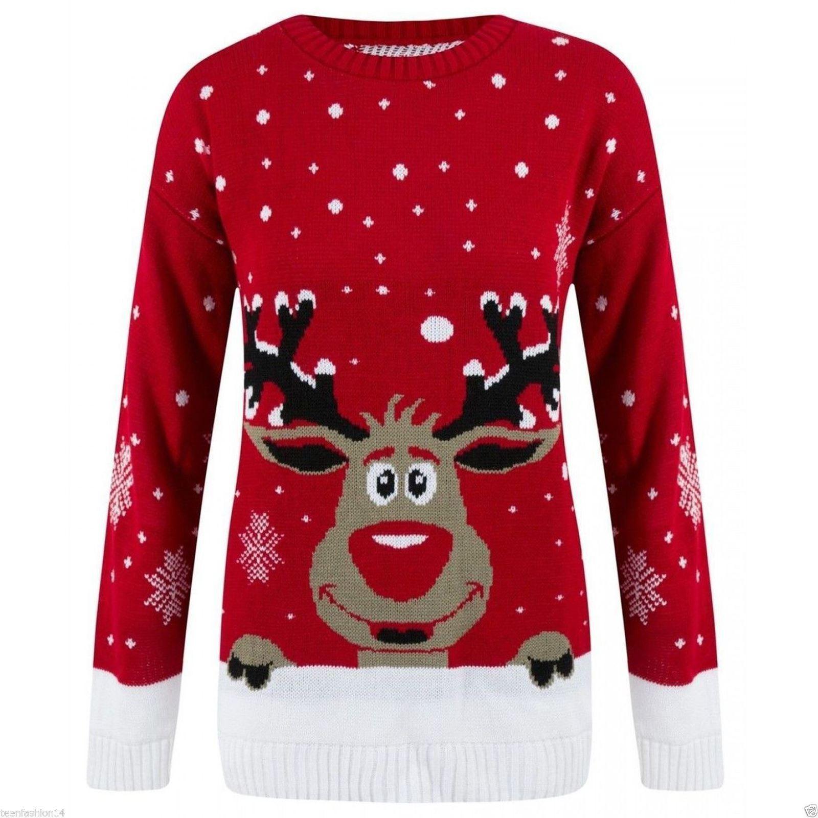 Unisex Christmas Gift Ideas: Womens Sweater Jumper Unisex Mens Xmas Reindeer Christmas