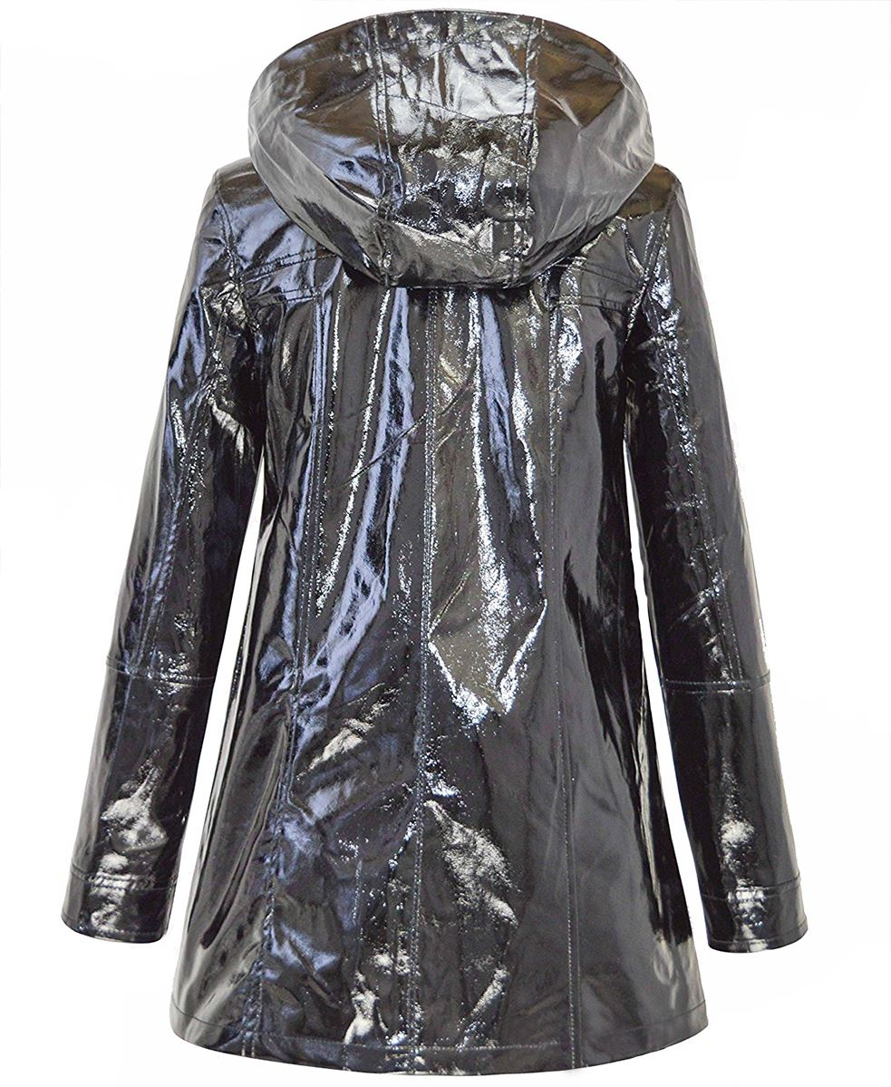 24f095426f97d Womens Metallic Look Black Glossy Waterproof Festival Rain Mac Coat ...