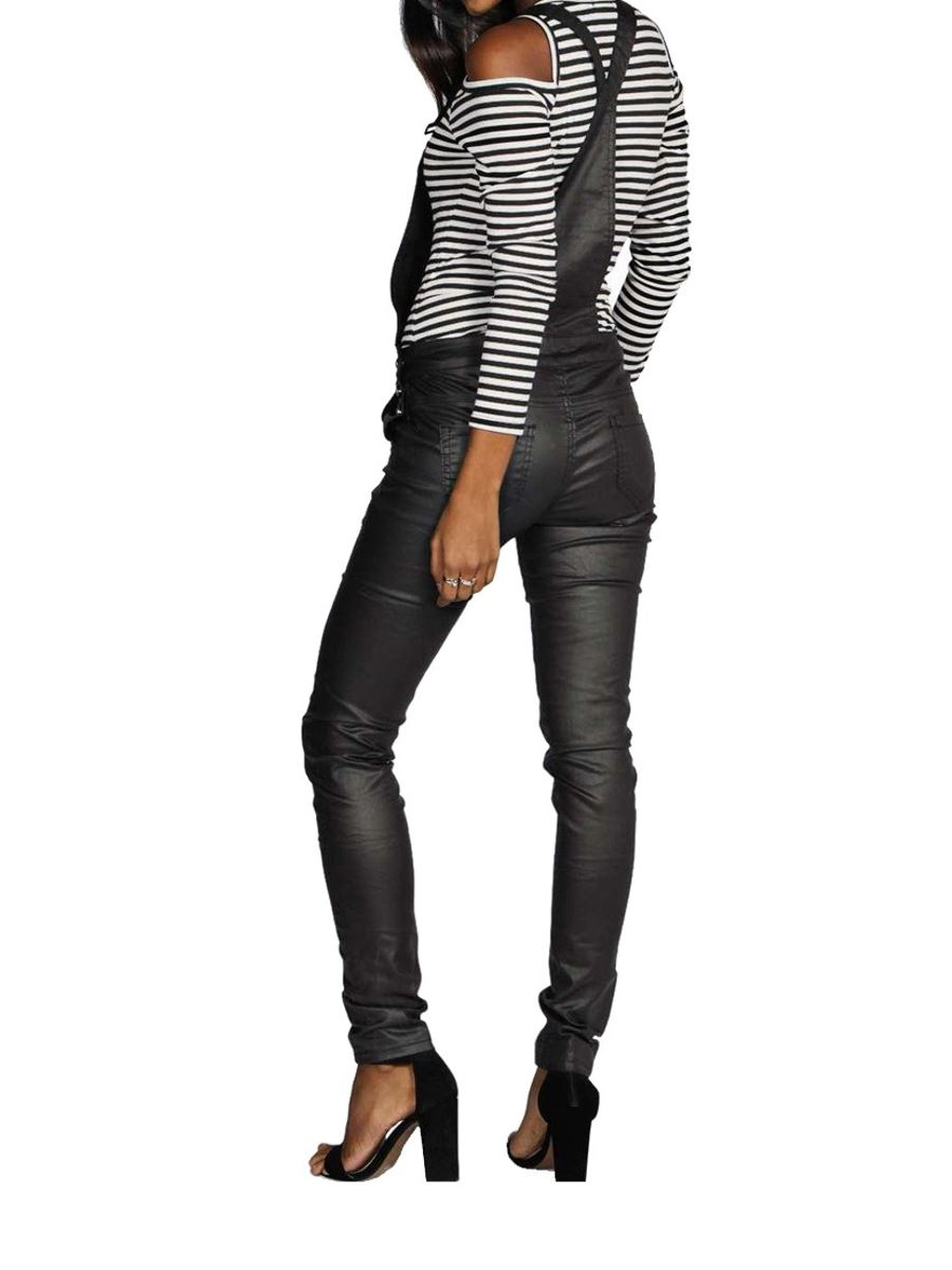 Womens Faux Leather Black Skinny Wet Oil Look Wax Dungaree ...
