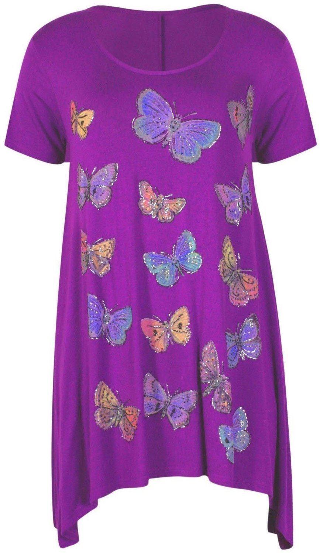 Womens Glitter Butterfly Print Tunic Hanky Hem T Shirt