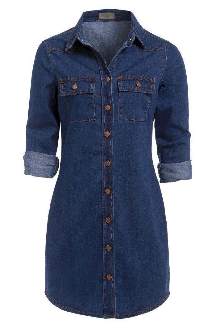 Womens vintage casual button down long sleeve denim jean for Women s button down dress shirts
