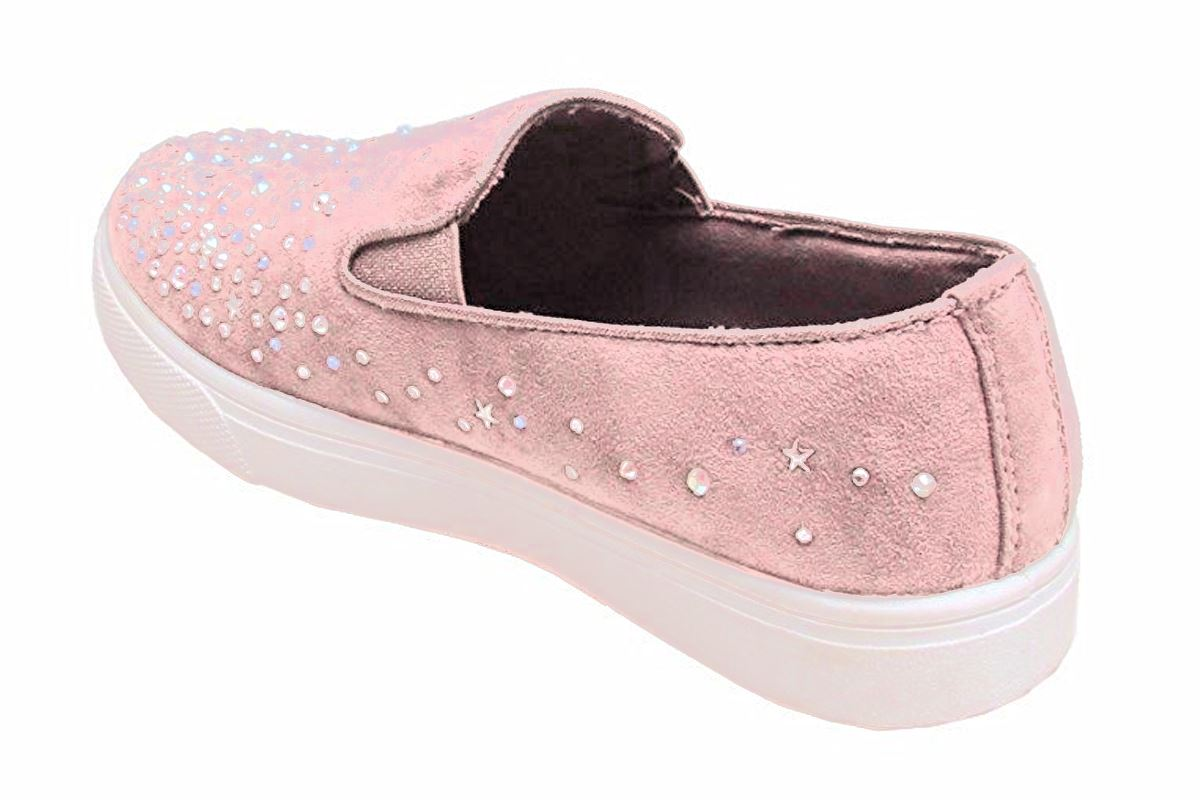 New Womens Casual Faux Suede Front Slip On Diamante Sneaker Pumps Shoes