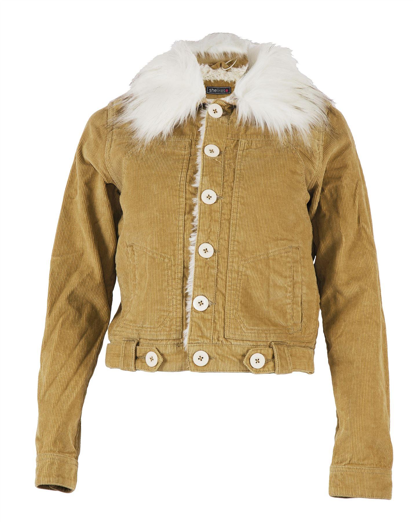 coton velours en côtelé matelassée col pour avec classique Veste femmes en fxtwYHw0