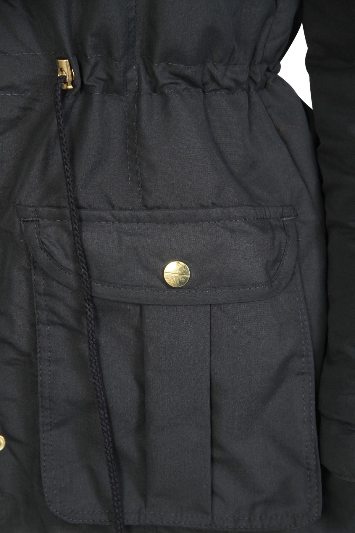 Womens-Brave-Soul-Plain-Trimmed-Parka-Faux-Fur-Hooded-Winter-Jacket-Long-Coat thumbnail 8