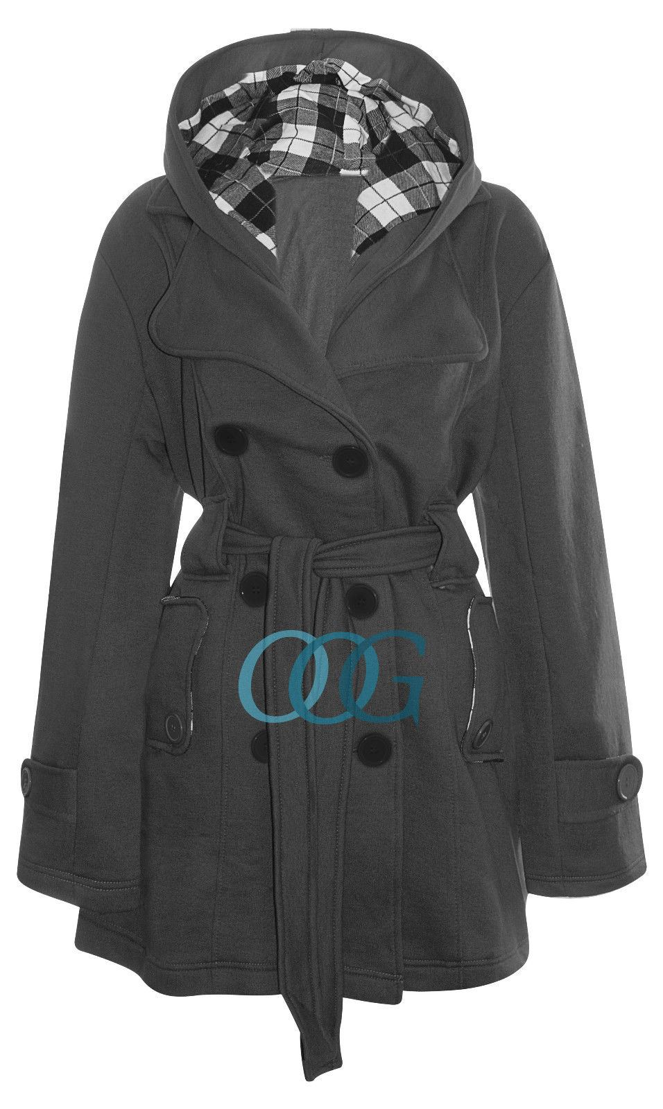 Womens Hooded Belted Fleece Ladies Button Check Hood Plus ...