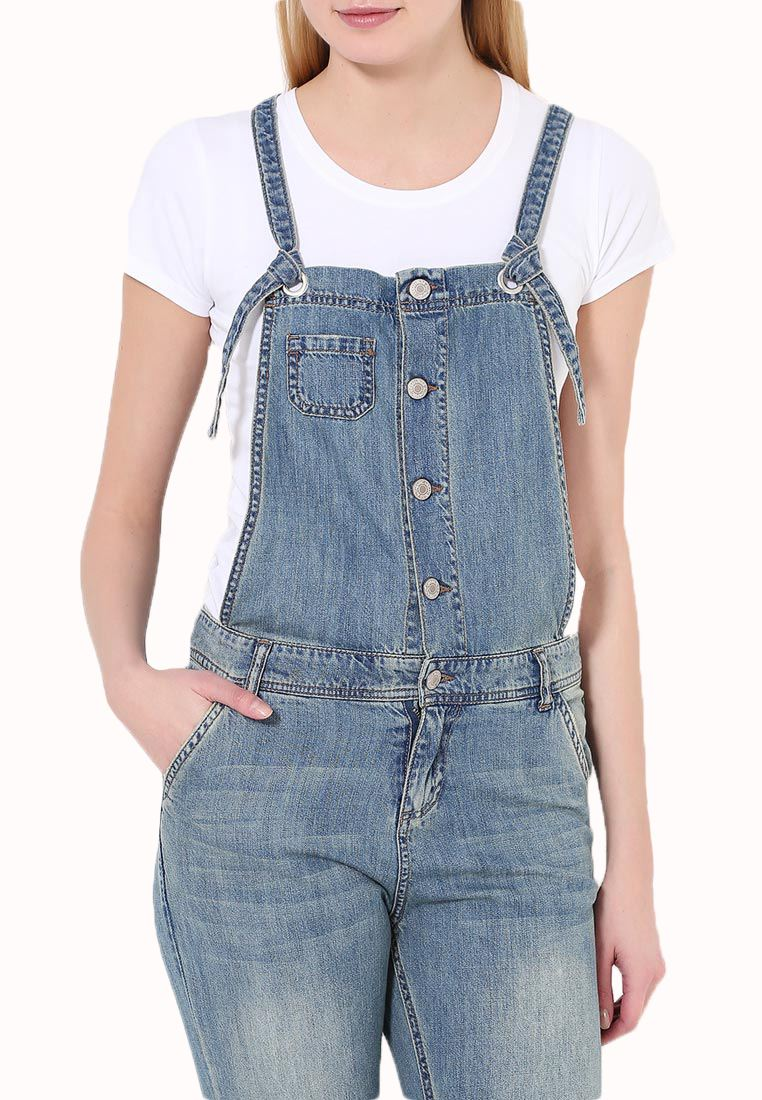 Womens Baggy Full Length Denim Dungarees Jeans Pinafore ...