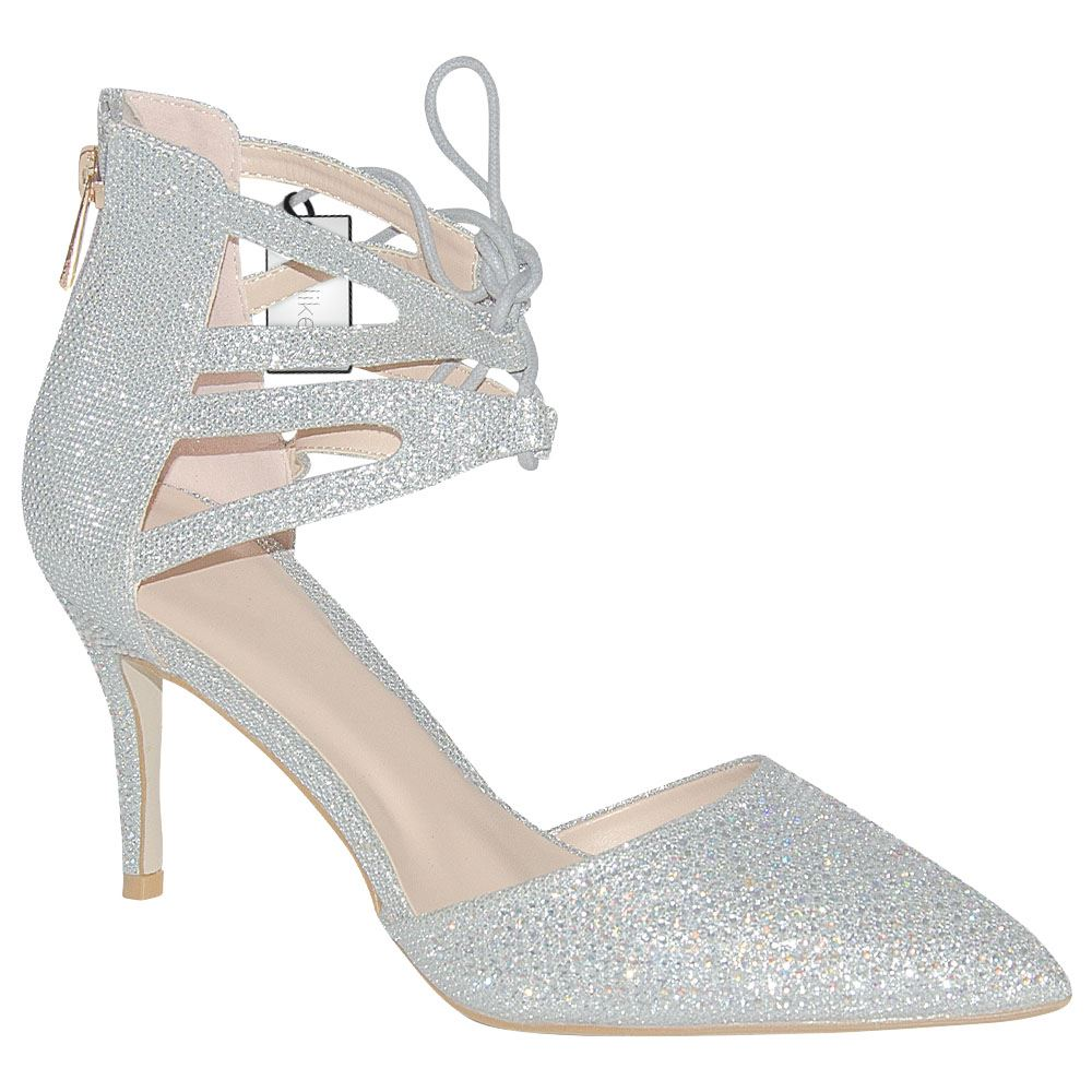 womens high heel diamante prom shimmering lace up bridal
