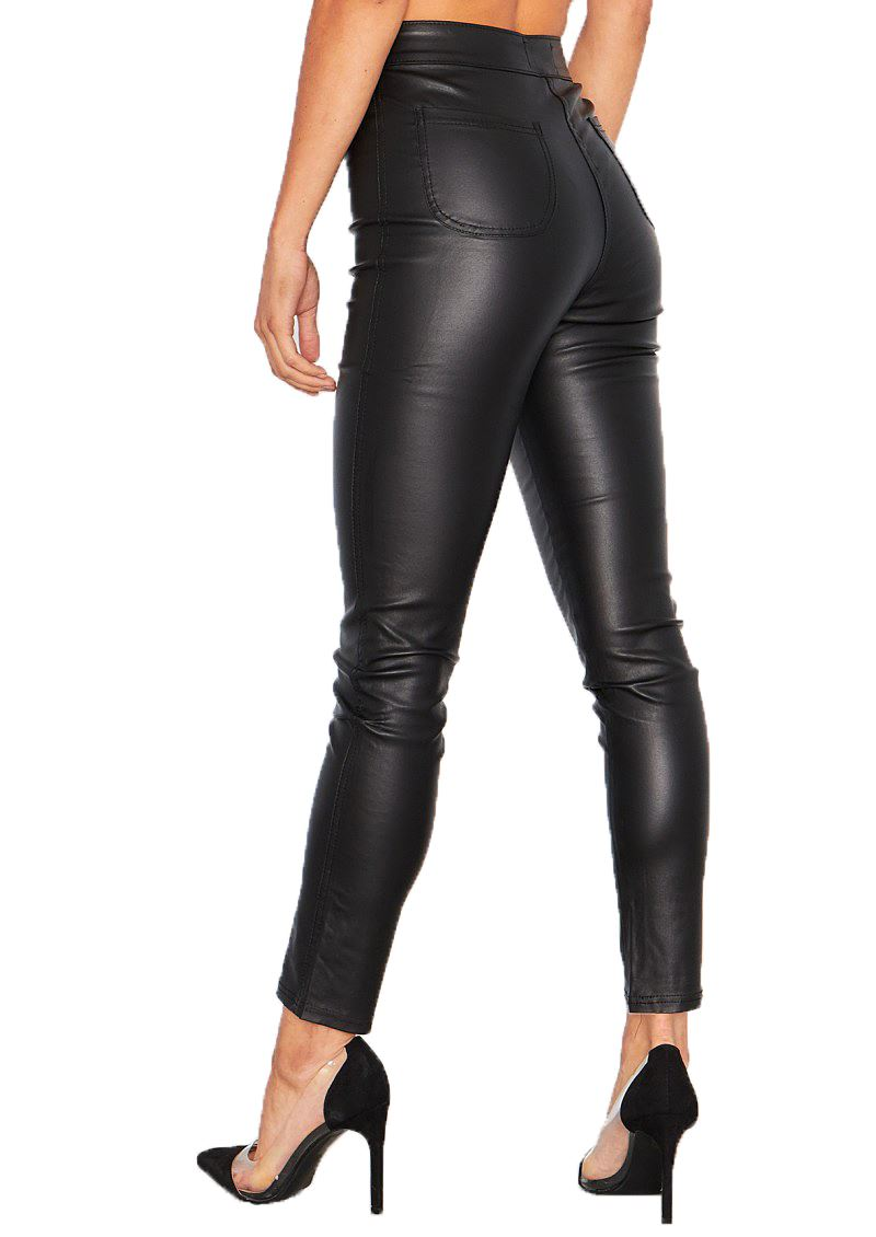 Womens Black Wet Leather High Look PU Fit Rise Skinny Waisted Jeans Trousers