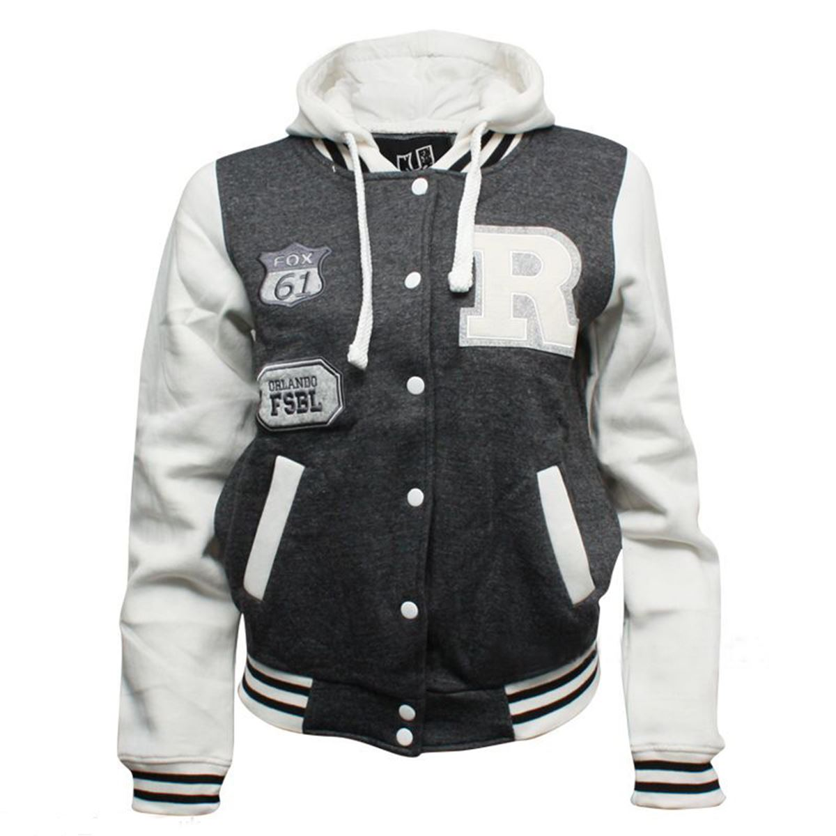 Kids Girls Boys R Varsity Baseball Hooded Drawstring Long Sleeve ...