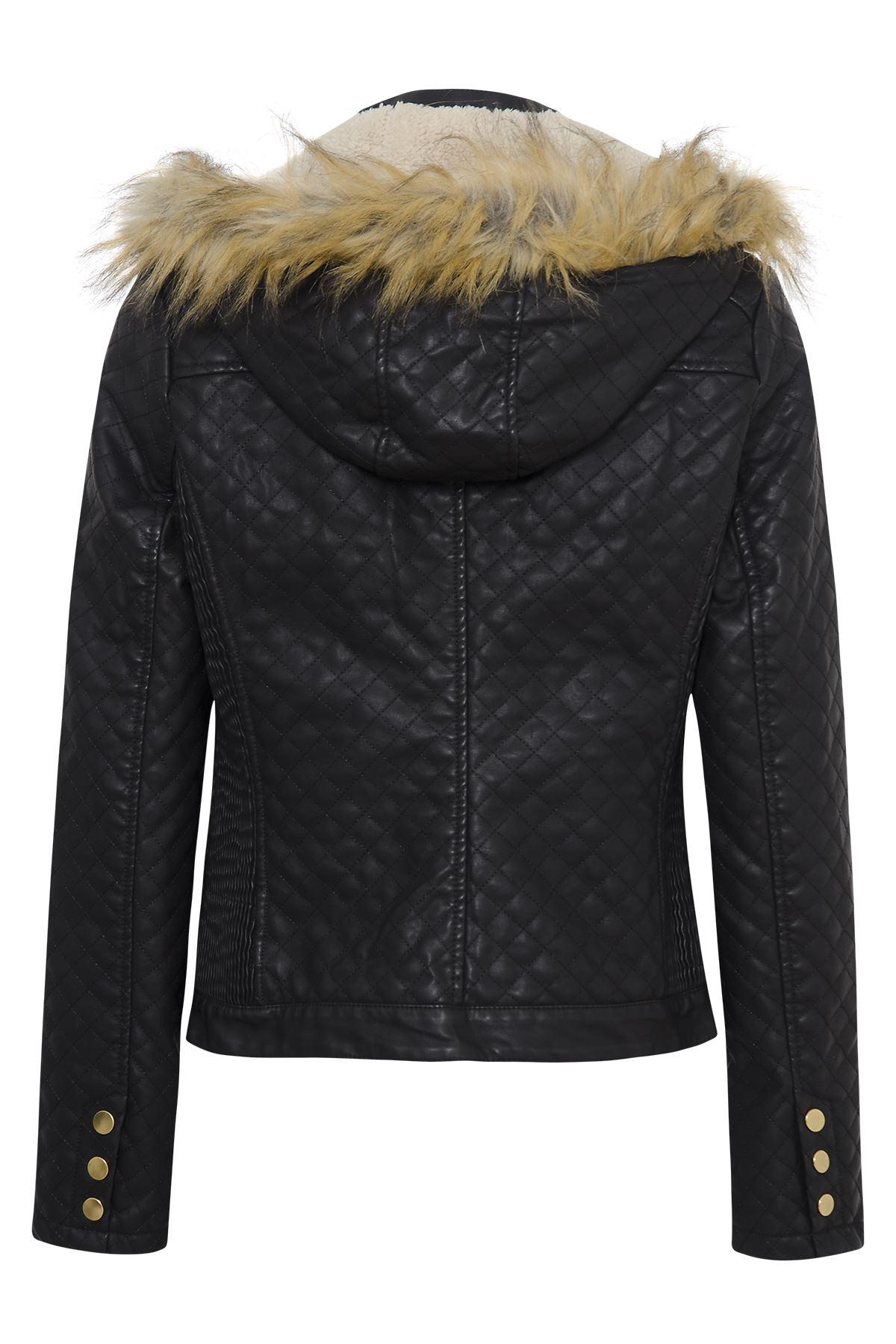 Womens Ladies Pu Faux Fur Quilted Hooded Fleece Pvc Leather Zip Biker Jacket Ebay