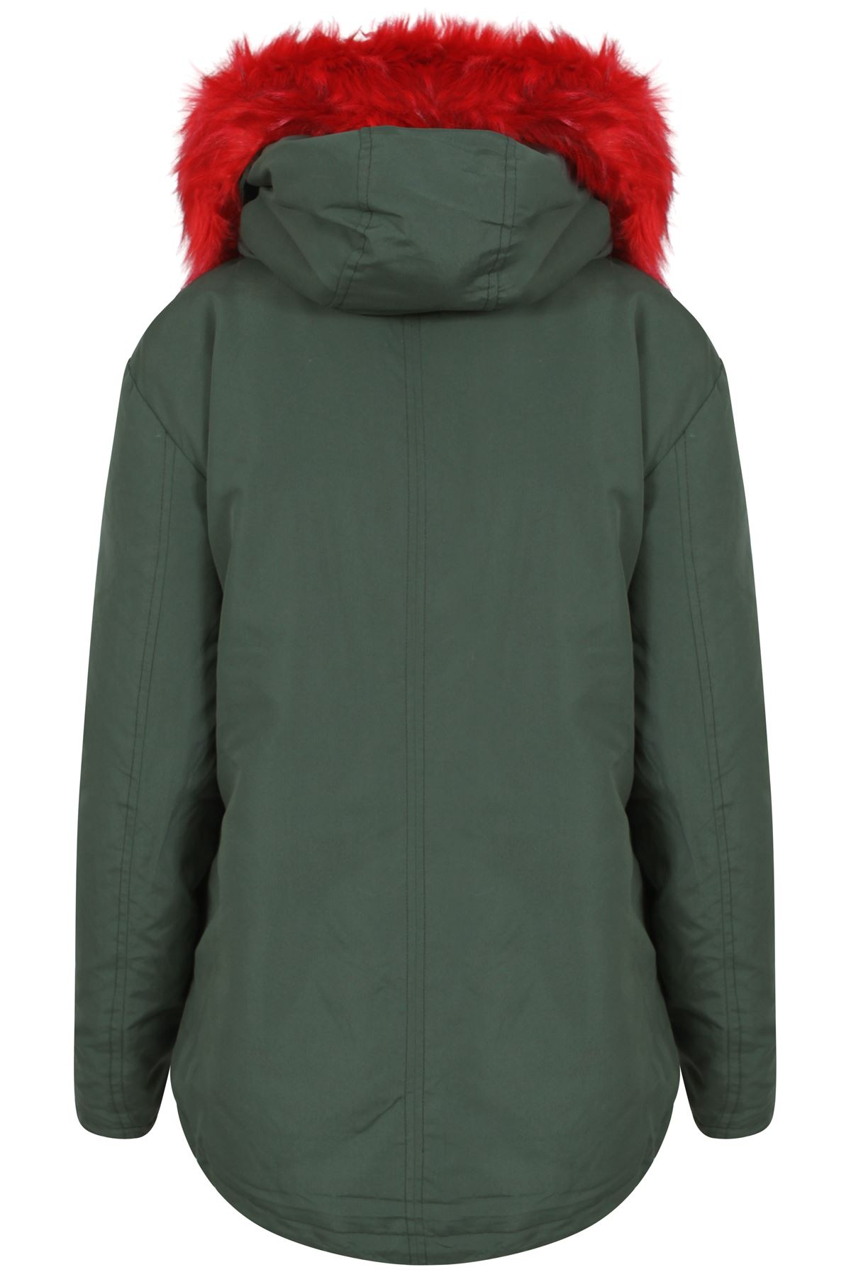 Womens-Padded-Lined-Parka-Red-Faux-Fur-Trim-Hooded-Thick-Warm-Winter-Jacket-Coat thumbnail 5
