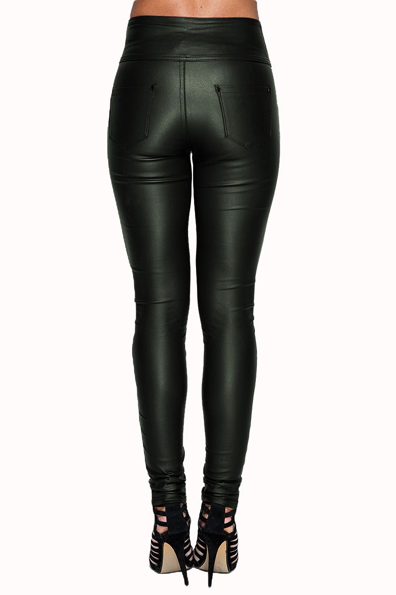 f4b5ab16fee39 Womens Wet Look Sexy Glossy PU High Rise Waisted Leather Skinny Fit ...