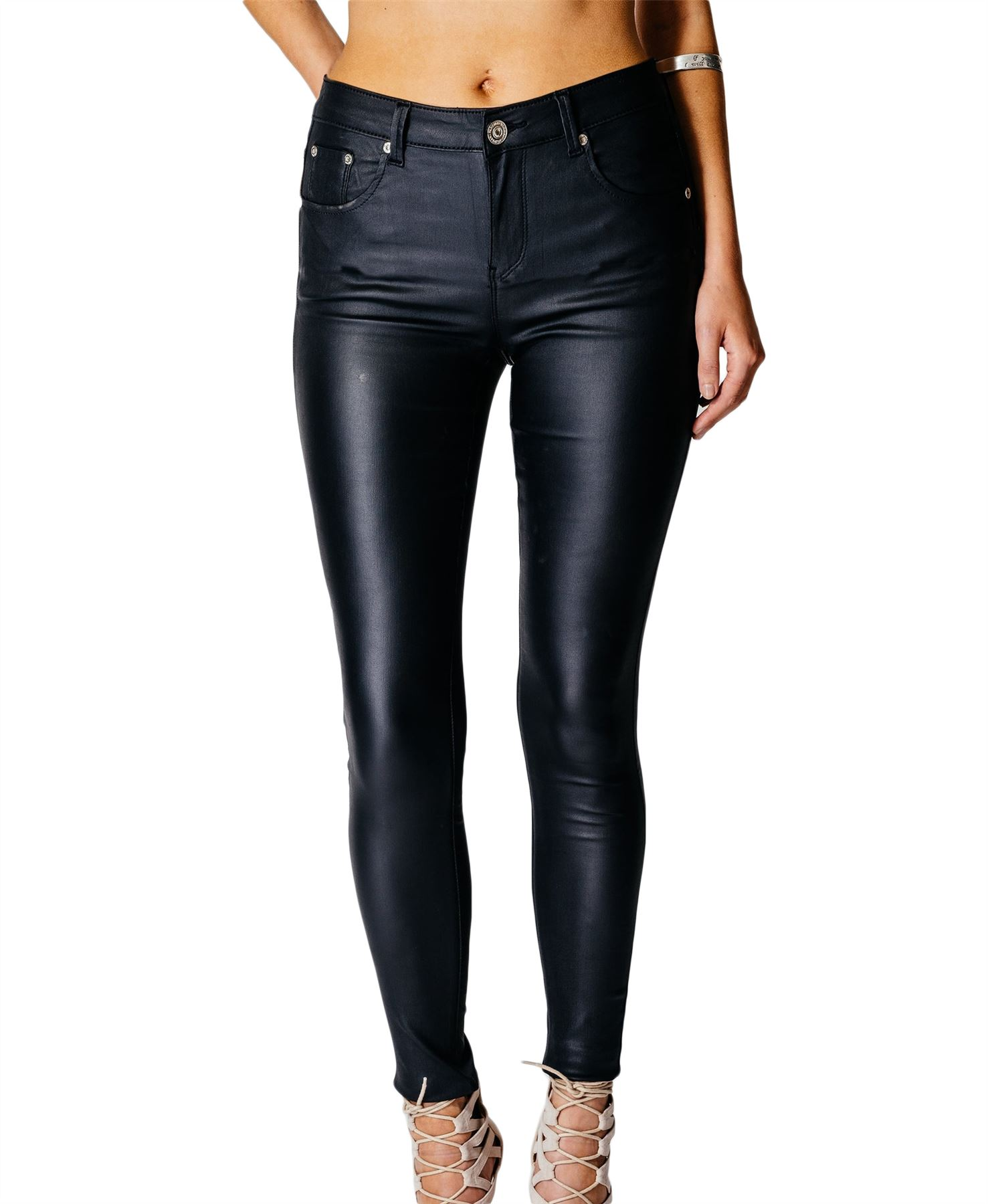 Womens High Waisted Rise Wet Look PU Plus Size Leather ...