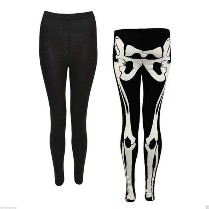 Womens-Halloween-Dress-Top-Ladies-Fancy-Leotard-Leggings-Print-Bodysuit-Skeleton