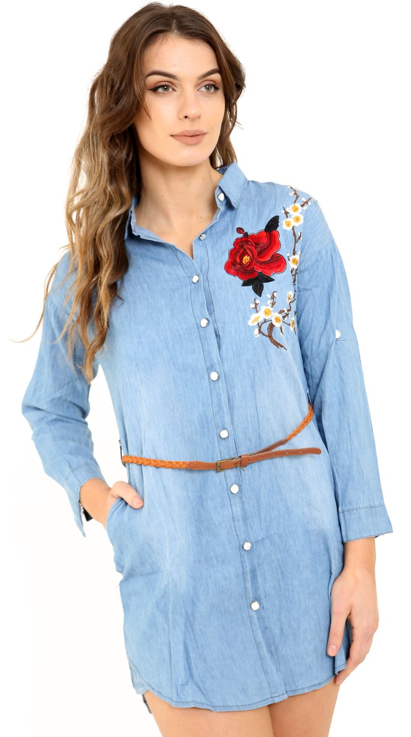 New-Womens-Embroidered-Casual-Cotton-Belted-Long-Shirt-Dress
