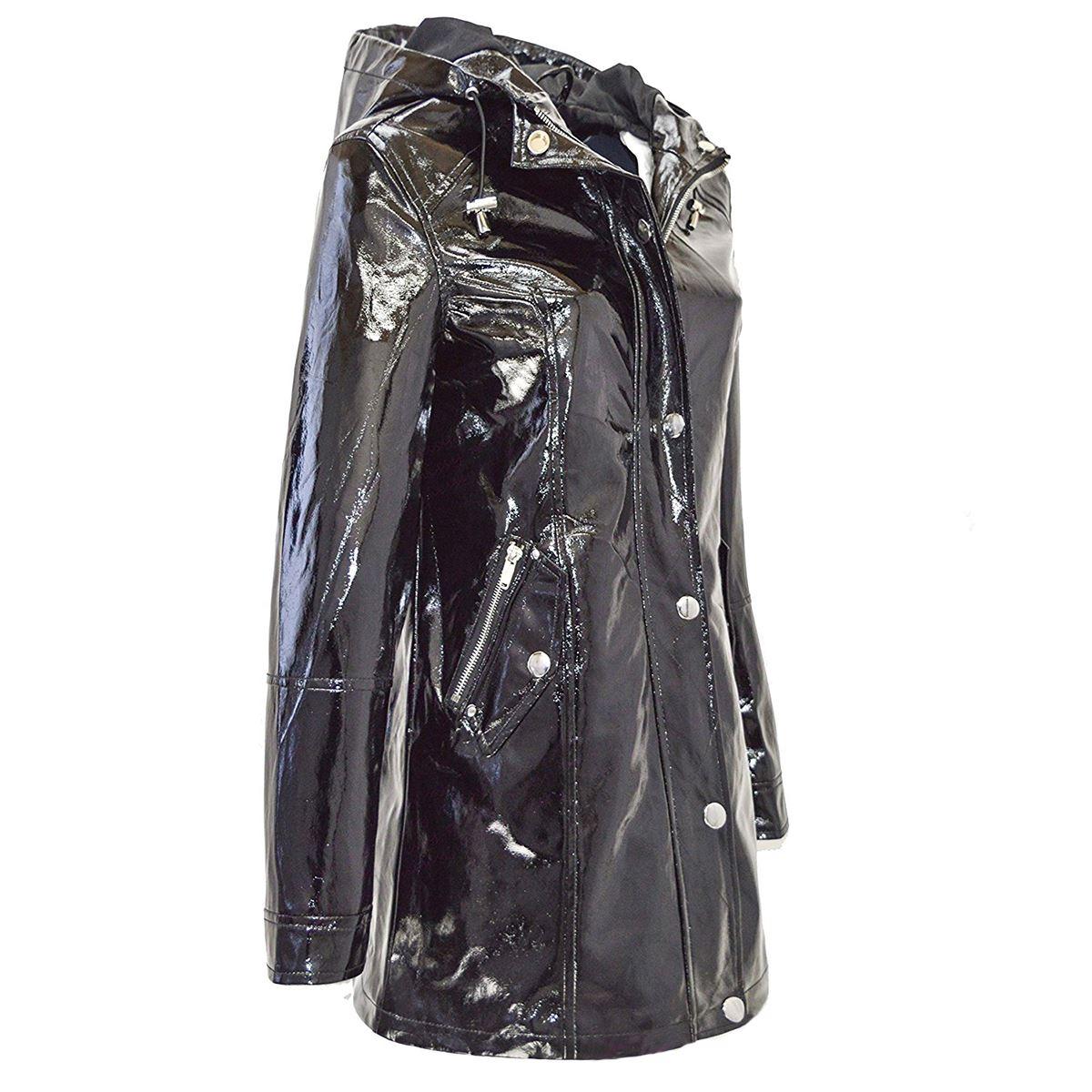 Womens Black Glossy Metallic Look Waterproof Rain Mac Coat
