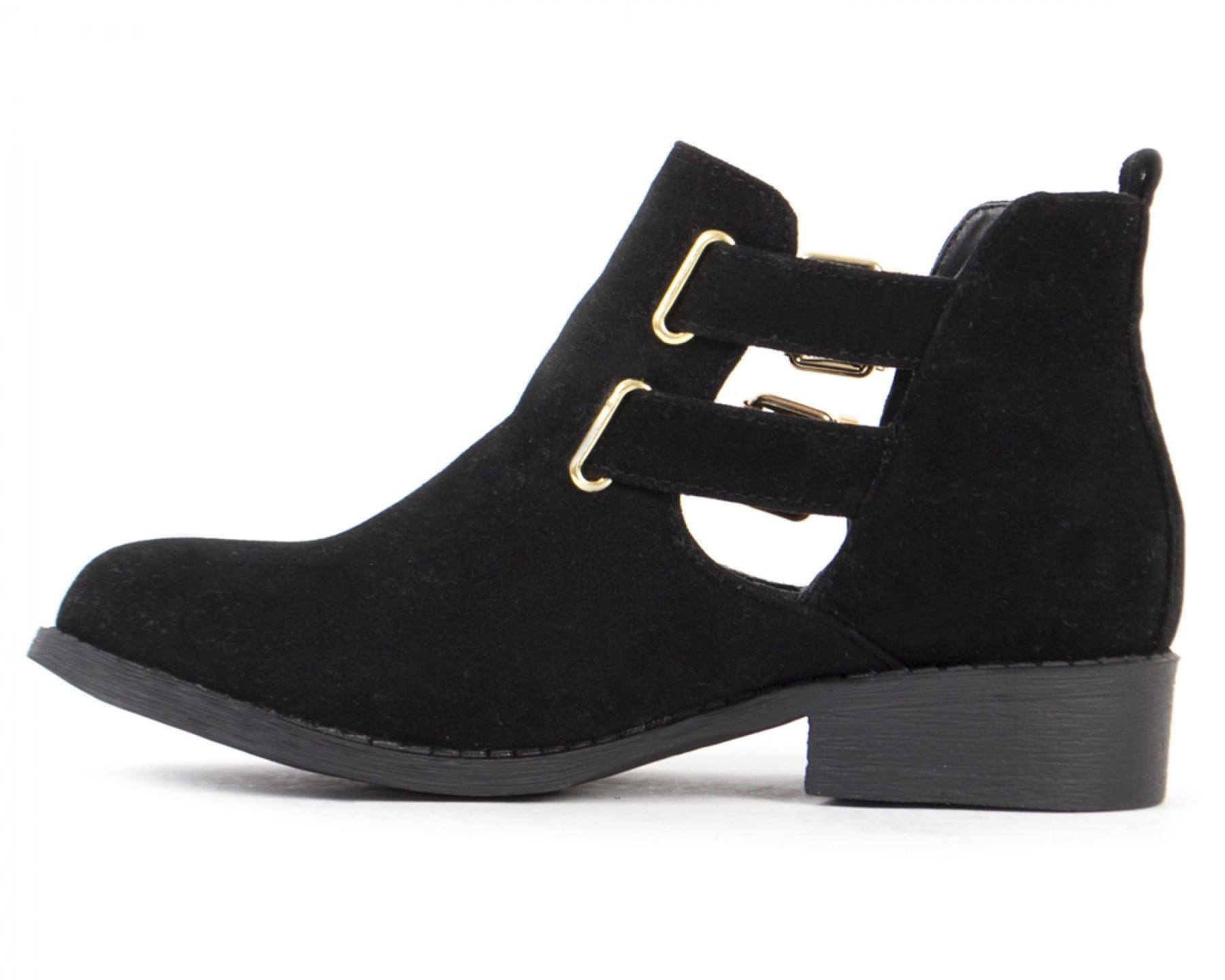 Womens Ladies Leather Suede Cut Out Buckle Low Heel Chelsea Ankle ...