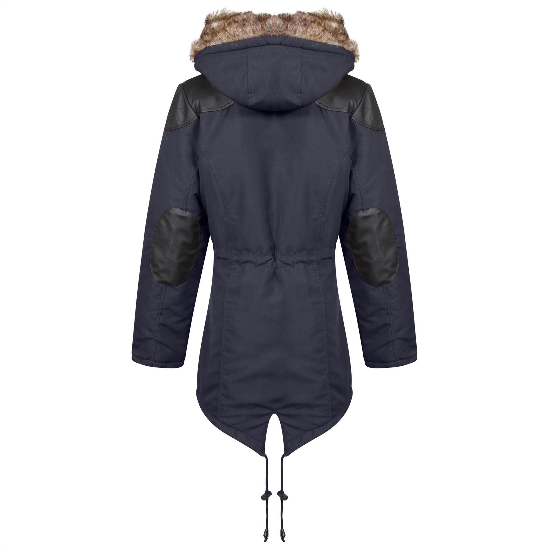 New Unisex Boys Girls Fishtail Contrast Inner Quilted Parka Jacket Coat