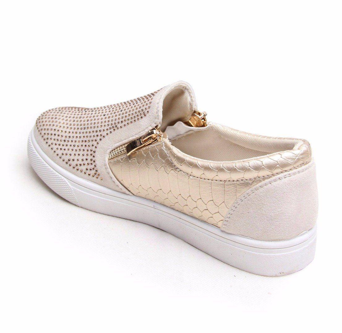 femme strass baskets croco peau slip on gold baskets ballerines escarpins chaussures ebay. Black Bedroom Furniture Sets. Home Design Ideas