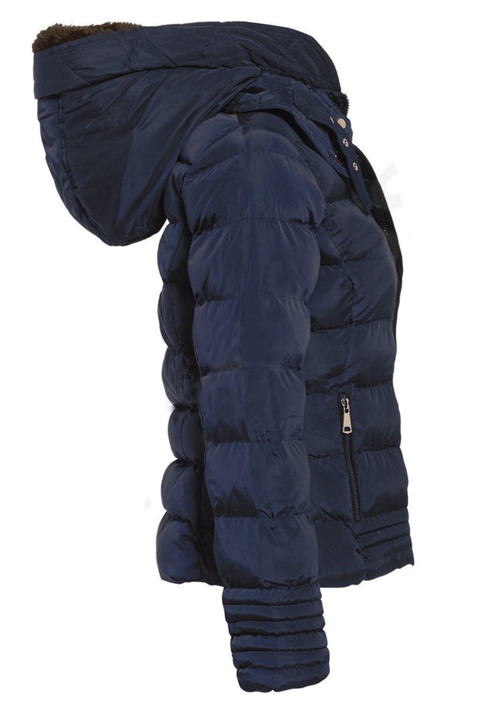 Navy bruserproof Hættejakke Overtøj Uk lomme 8 tykt quiltet 16 polstret Kvinders vx6WqIwSq