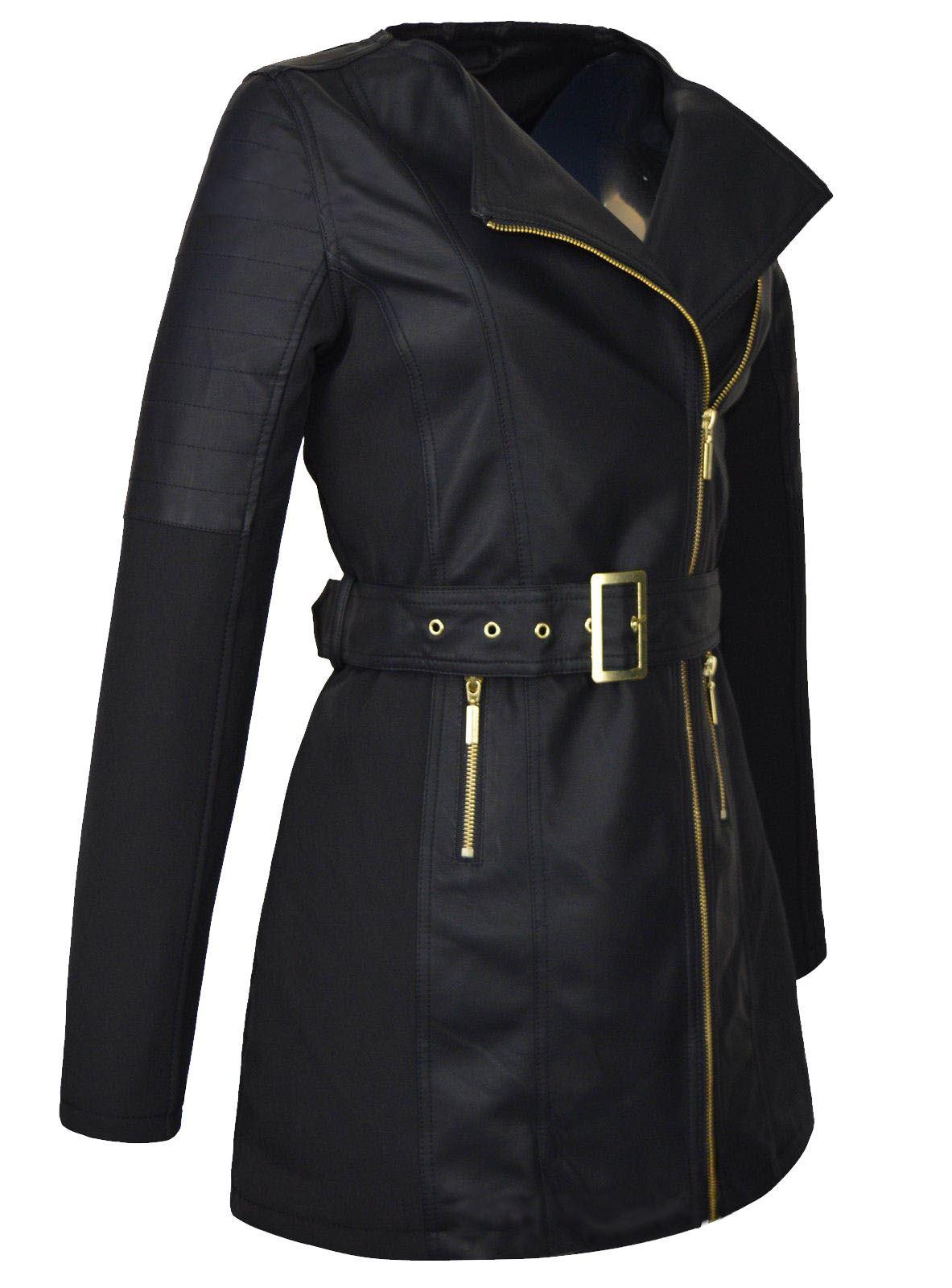Womens Belted Zip Leather Look Black Belt Coat Biker Gold ...