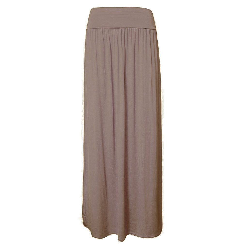 Womens Ladies Pleated Fold Over High Waist Gypsy Long Jersey Maxi ...