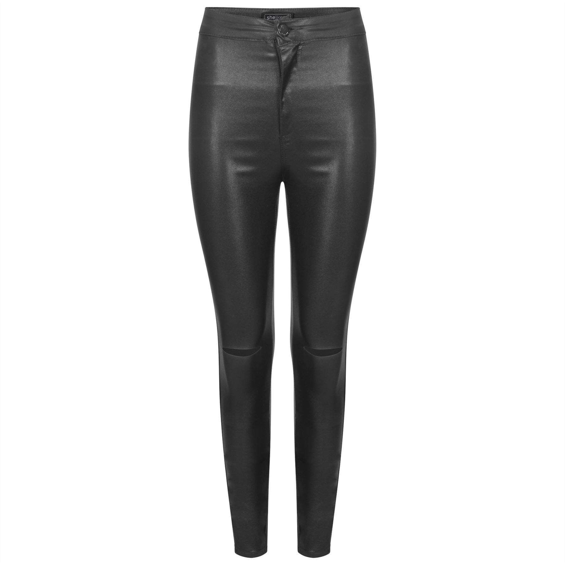 popular brand arriving popular stores Details about Womens Skinny Leather Wet High Stretch Look PU Jeans Trousers  Shiny Sexy Pants