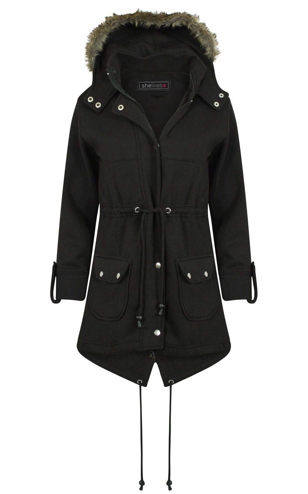 Womens faux fur hooded coat