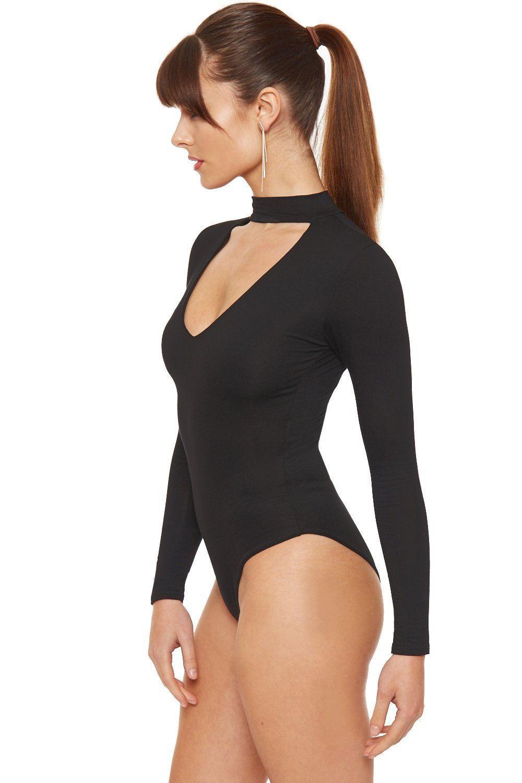 Womens Choker Neck Long Sleeve Body Top Bodysuit Leotard  12a742c4b1ea