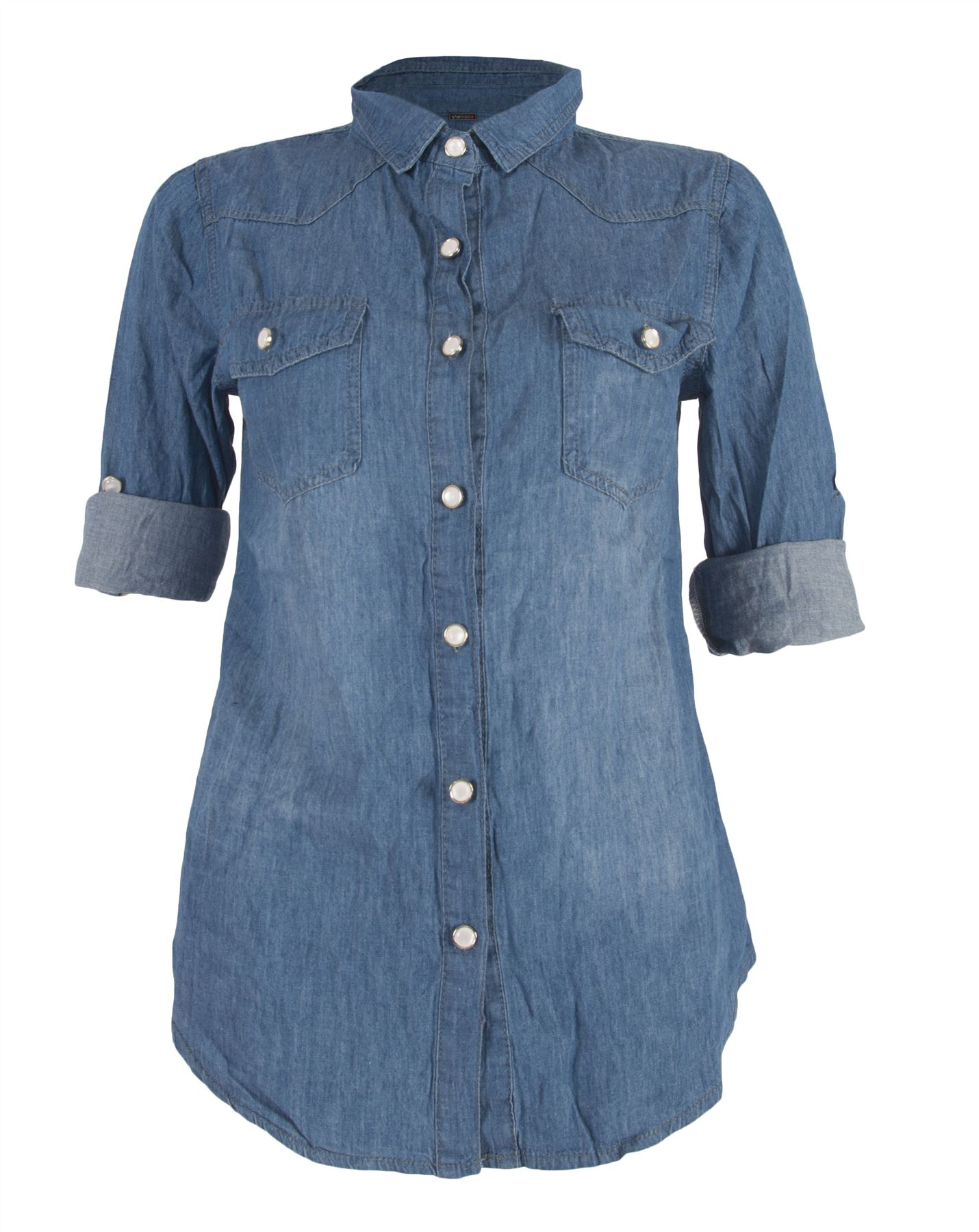 Womens Casual Denim Medium Wash Jean Button Up Classic
