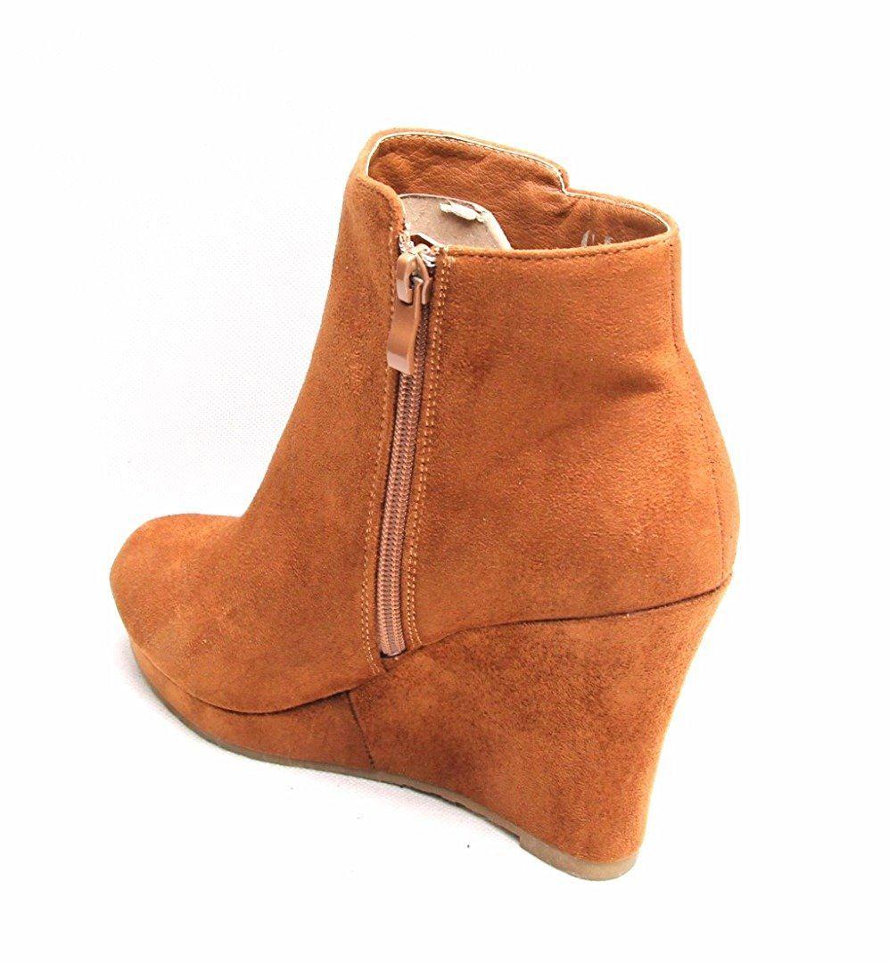 suede block wedge ankle heel zip womens faux boots