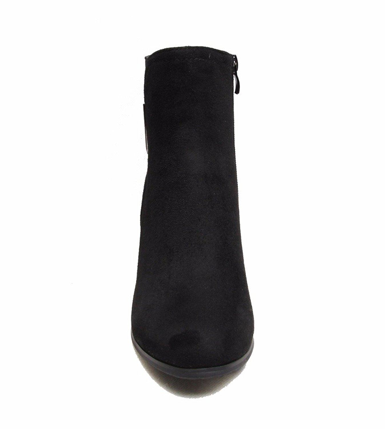 suede boots faux womens zipped ankle mid heel uk sizes 3 8