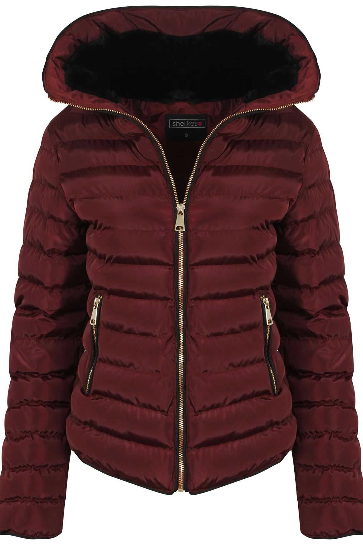Womens Wine With Thick Coat Padded Jacket Warm Zip Quilted Black ...
