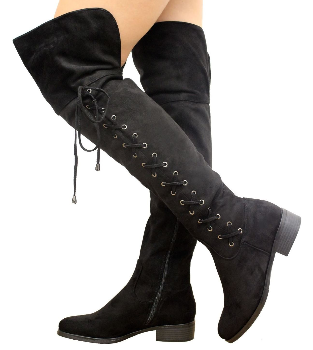 women s thigh high lace up the knee foldover low heel